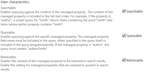 Managed Property Settings